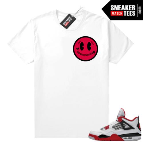 Fire Red 4s Jordan Sneaker Tees Shirts White Fake Love Smiley