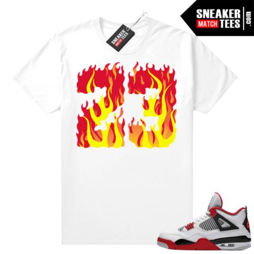 Fire Red 4s Jordan Sneaker Tees Shirts White Fire 23