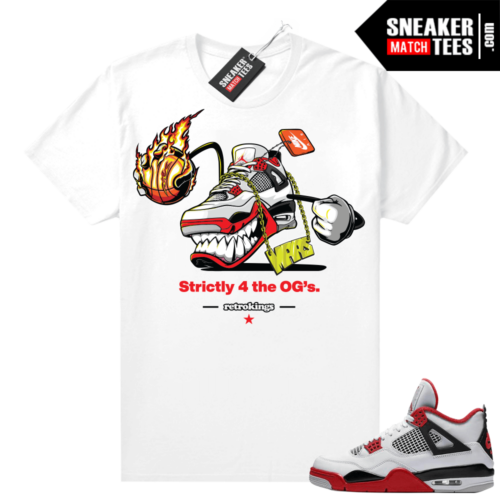 Fire Red 4s Jordan Sneaker Tees Shirts White Fly Kicks