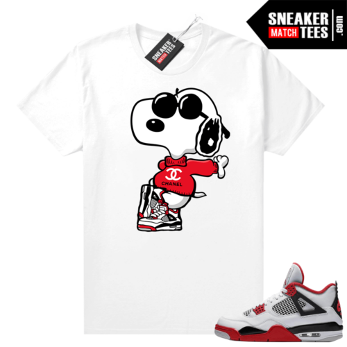 Fire Red 4s Jordan Sneaker Tees Shirts White Fly Snoopy