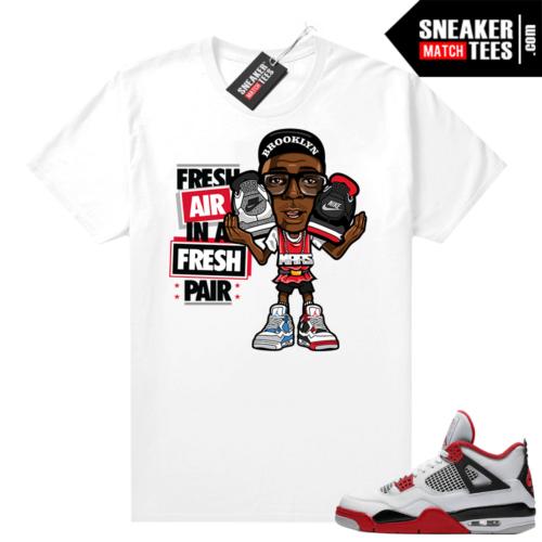 Fire Red 4s Jordan Sneaker Tees Shirts White Fresh Air Mars