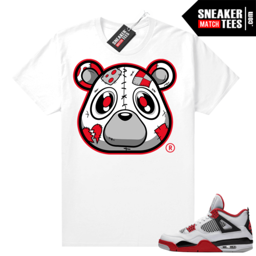 Fire Red 4s Jordan Sneaker Tees Shirts White Heartless Bear