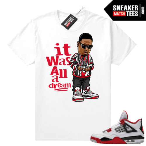 Fire Red 4s Jordan Sneaker Tees Shirts White It Was All A Dream