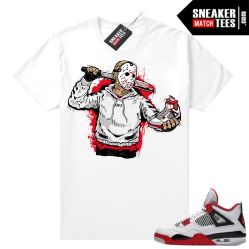 Fire Red 4s Jordan Sneaker Tees Shirts White Jason Cop