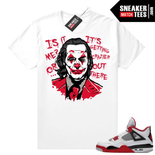 Fire Red 4s Jordan Sneaker Tees Shirts White Joker