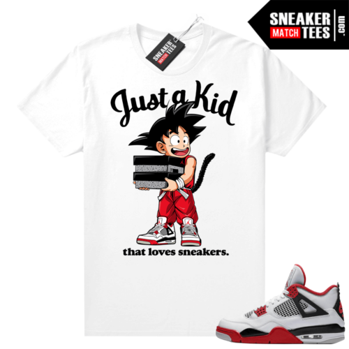 Fire Red 4s Jordan Sneaker Tees Shirts White Just A Kid