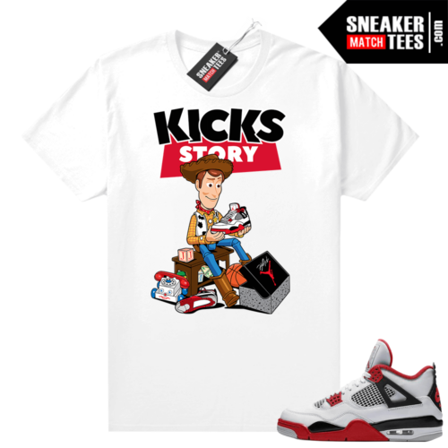 Fire Red 4s Jordan Sneaker Tees Shirts White Kicks Story