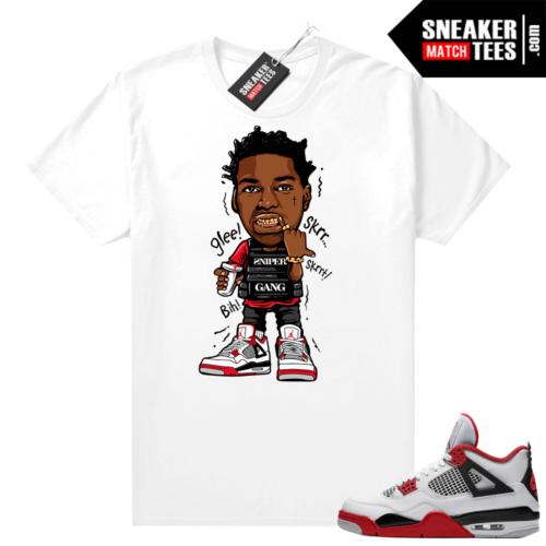 Fire Red 4s Jordan Sneaker Tees Shirts White Kodak Glee