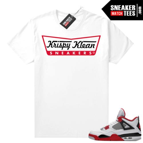 Fire Red 4s Jordan Sneaker Tees Shirts White Krispy Klean Sneakers