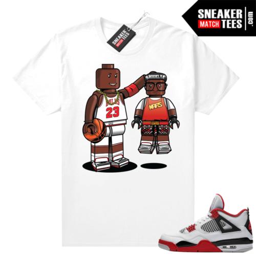Fire Red 4s Jordan Sneaker Tees Shirts White Lego MJ & Mars