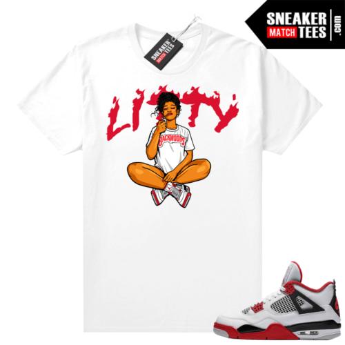 Fire Red 4s Jordan Sneaker Tees Shirts White Litty