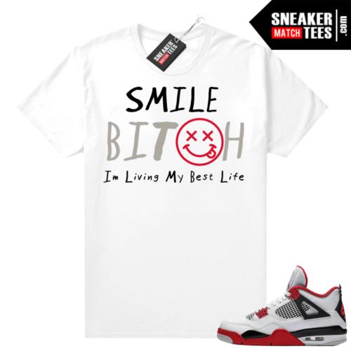 Fire Red 4s Jordan Sneaker Tees Shirts White Living my best life