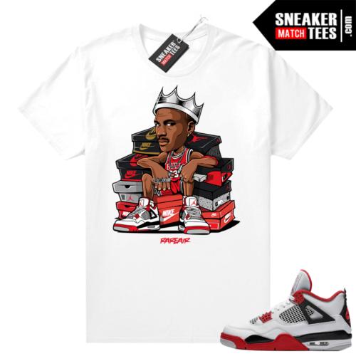Fire Red 4s Jordan Sneaker Tees Shirts White MJ King