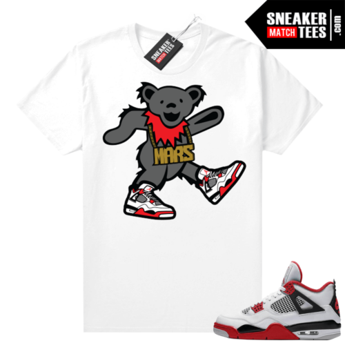 Fire Red 4s Jordan Sneaker Tees Shirts White Mars Bear