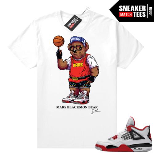 Fire Red 4s Jordan Sneaker Tees Shirts White Mars Blackmon Bear