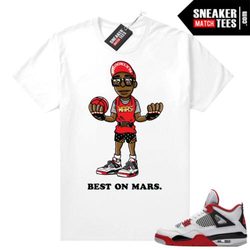 Fire Red 4s Jordan Sneaker Tees Shirts White Mars Muppet
