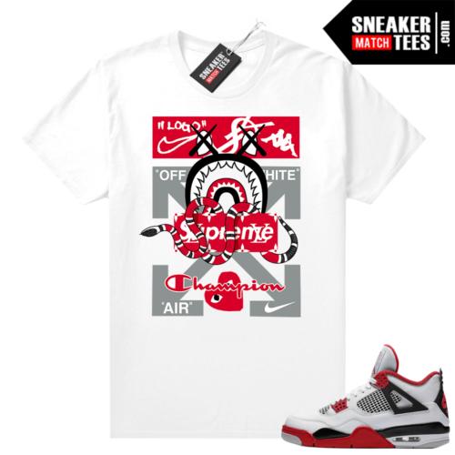 Fire Red 4s Jordan Sneaker Tees Shirts White Mashup