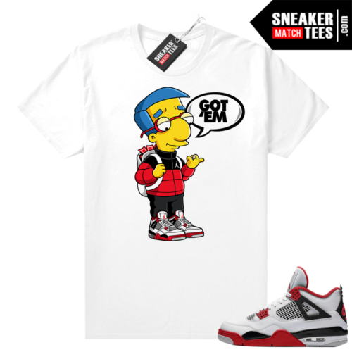 Fire Red 4s Jordan Sneaker Tees Shirts White Millhouse Got EM