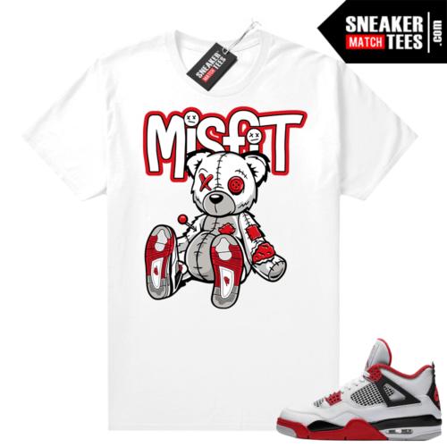 Fire Red 4s Jordan Sneaker Tees Shirts White Misfit Voodoo Bear