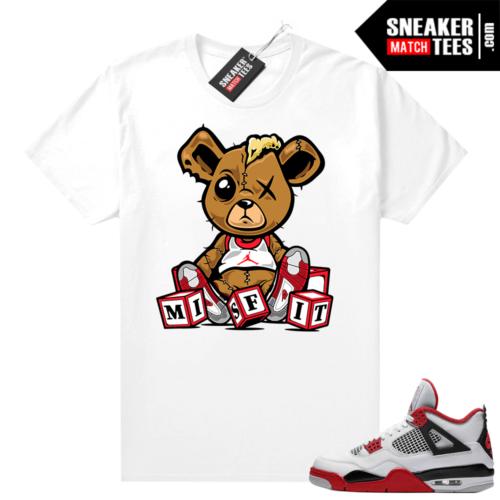 Fire Red 4s Jordan Sneaker Tees Shirts White Misift Teddy