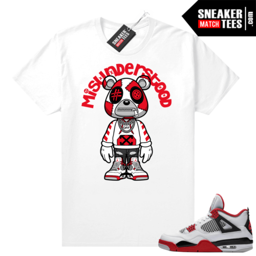 Fire Red 4s Jordan Sneaker Tees Shirts White Misunderstood Bear Toon