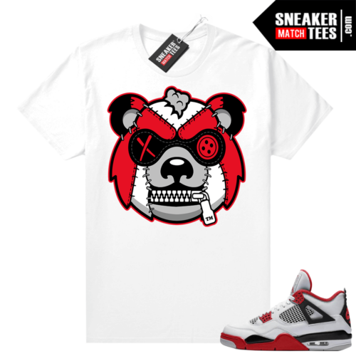 Fire Red 4s Jordan Sneaker Tees Shirts White Misunderstood Grizzly