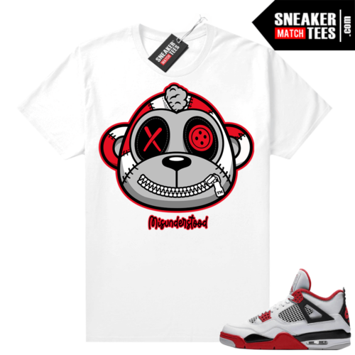 Fire Red 4s Jordan Sneaker Tees Shirts White Misunderstood Monkey