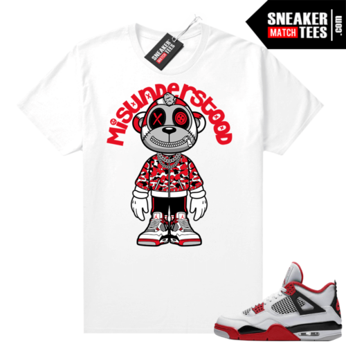 Fire Red 4s Jordan Sneaker Tees Shirts White Misunderstood Monkey Toon