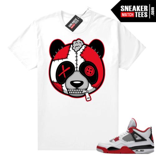 Fire Red 4s Jordan Sneaker Tees Shirts White Misunderstood Panda