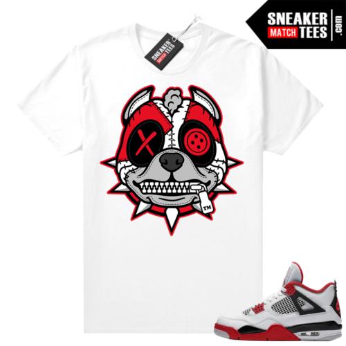 Fire Red 4s Jordan Sneaker Tees Shirts White Misunderstood Pitbull