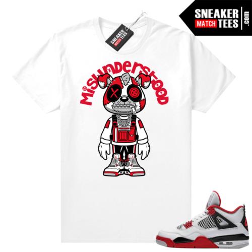 Fire Red 4s Jordan Sneaker Tees Shirts White Misunderstood Puppy Toon