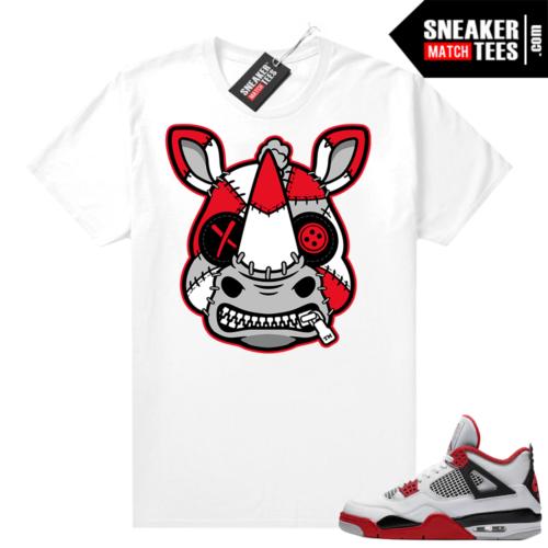 Fire Red 4s Jordan Sneaker Tees Shirts White Misunderstood Rhino
