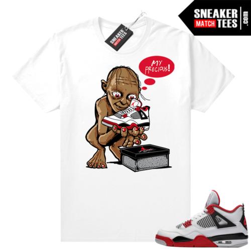 Fire Red 4s Jordan Sneaker Tees Shirts White My Precious