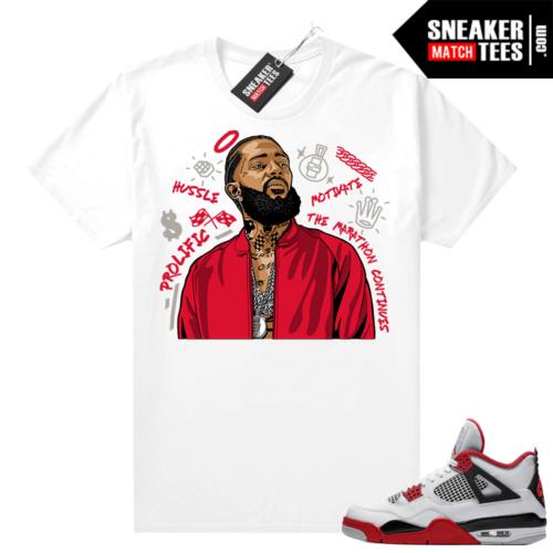 Fire Red 4s Jordan Sneaker Tees Shirts White Nipsey Tribute