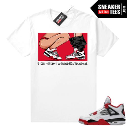 Fire Red 4s Jordan Sneaker Tees Shirts White No 350s