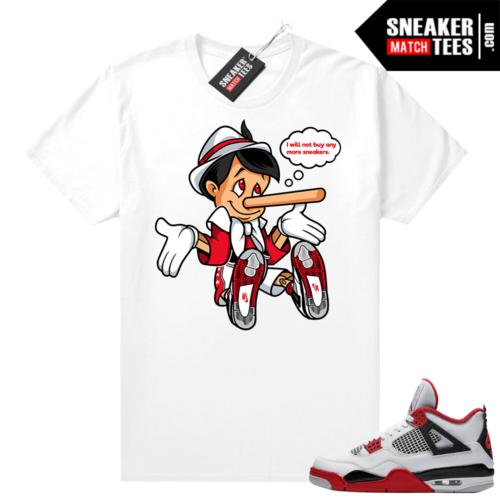 Fire Red 4s Jordan Sneaker Tees Shirts White No More Sneakers