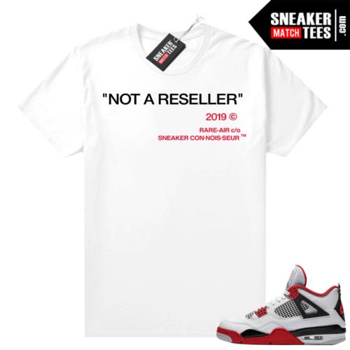 Fire Red 4s Jordan Sneaker Tees Shirts White Not A Reseller