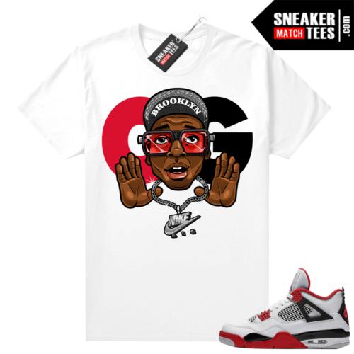 Fire Red 4s Jordan Sneaker Tees Shirts White OG 4s
