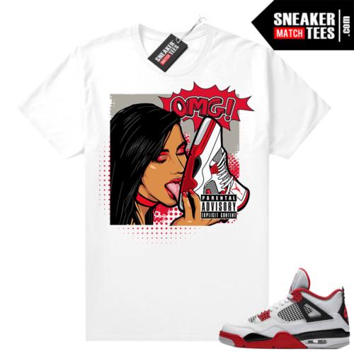 Fire Red 4s Jordan Sneaker Tees Shirts White OMG Sneakers