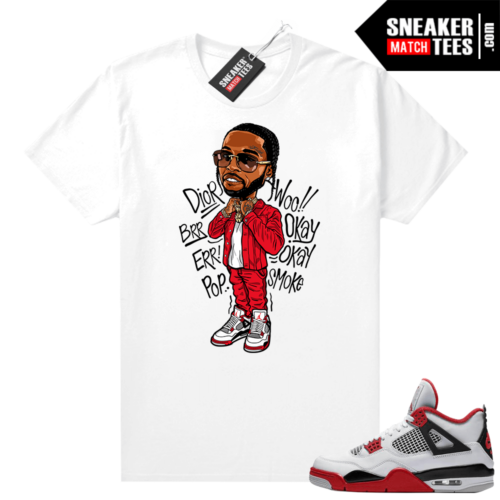 Fire Red 4s Jordan Sneaker Tees Shirts White Pop Smoke