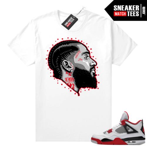 Fire Red 4s Jordan Sneaker Tees Shirts White Prolific