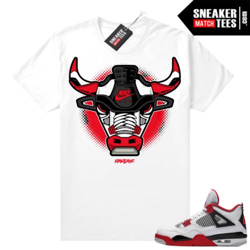 Fire Red 4s Jordan Sneaker Tees Shirts White Rare Air Bull
