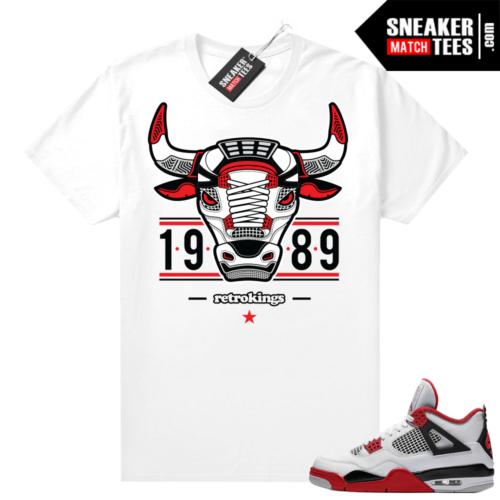 Fire Red 4s Jordan Sneaker Tees Shirts White Retro King Bull 4s