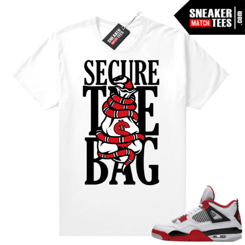 Fire Red 4s Jordan Sneaker Tees Shirts White Secure the Bag