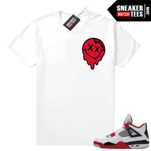 Fire Red 4s Jordan Sneaker Tees Shirts White Smiley Slime