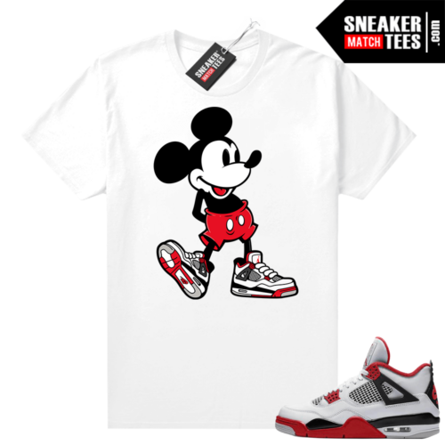 Fire Red 4s Jordan Sneaker Tees Shirts White Sneakerhead Mickey