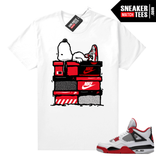 Fire Red 4s Jordan Sneaker Tees Shirts White Sneakerhead Snoopy