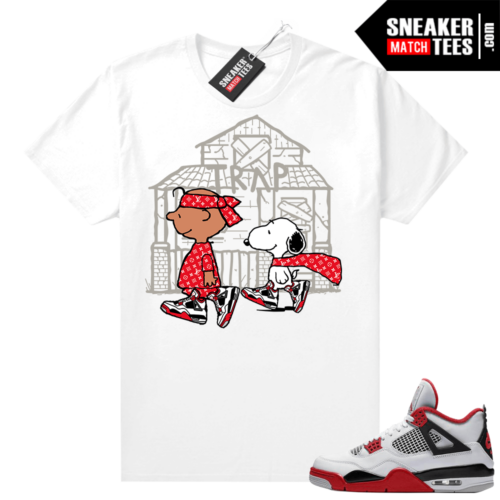 Fire Red 4s Jordan Sneaker Tees Shirts White Snoopy Trap House