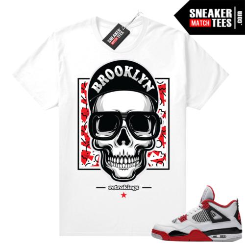Fire Red 4s Jordan Sneaker Tees Shirts White Spike Lee Skull