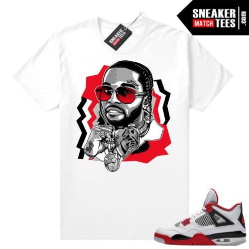 Fire Red 4s Jordan Sneaker Tees Shirts White The Woo